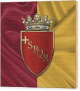 Coat Of Arms Of Rome Over Flag Of Rome Wood Print