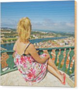 Coimbra Cityscape Woman Wood Print