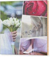 Collage Of Wedding Time Sensational Wood Print