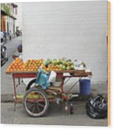 Colombia Fruit Cart Wood Print