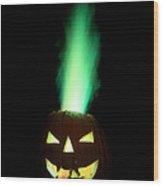 Colored Flame In Burning Pumpkin Wood Print