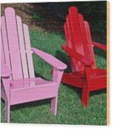 colorful Adirondack chairs Wood Print