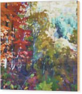 Colorful Autumn Trees In Forest Wood Print