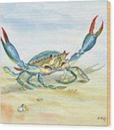 Colorful Blue Crab Wood Print