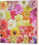Colorful Floral Background Wood Print