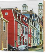 Colorful Houses In St. Johns In Newfoundland Wood Print