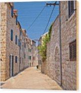 Colorful Mediterranean Stone Street Of Prvic Island Wood Print