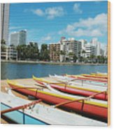 Colorful Outrigger Canoes Wood Print