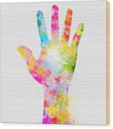 Colorful Painting Of Hand Wood Print