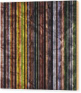 Colorful Vertical Stripes Background In Vintage Retro Style Wood Print