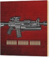Colt  M 4 A 1  S O P M O D Carbine With 5.56 N A T O Rounds On Red Velvet  Wood Print