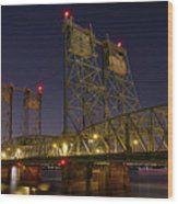 Columbia Crossing I-5 Interstate Bridge At Night Wood Print