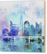 Columbus  Watercolor Skyline Wood Print