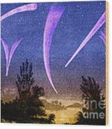 Comets In Night Sky Wood Print