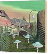 Compsognathus Dinosaur - 3d Render Wood Print