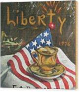 Contemplating Liberty Wood Print
