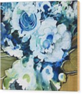 Contemporary Floral In Blue And White Wood Print