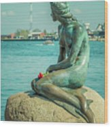 Copenhagen Little Mermaid Wood Print