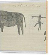 Copies After San Rock-paintings Of An Ox, A Baboon, And A Man, Robert Jacob Gordon, 1777 Wood Print