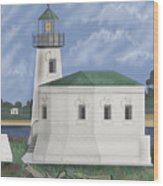 Coquille River Lighthouse At Bandon Oregon Wood Print