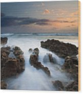 Coral Cove Dawn Wood Print