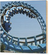 Cork-screw Rollercoaster And Ferris-wheel Wood Print