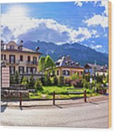 Cortina D' Ampezzo Street And Alps Peaks Panoramic View Wood Print