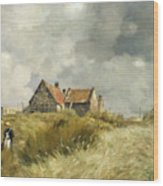 Cottage In The Dunes Wood Print