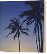 Couple And Sunset Palms Wood Print