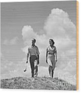 Couple Out Golfing, C.1930s Wood Print