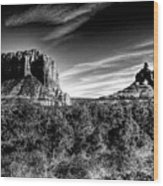 Courthouse Butte And Bell Rock Sedona Arizona Wood Print