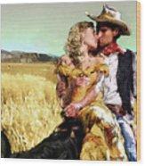 Cowboy's Romance Wood Print