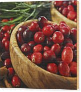 Cranberries In Bowls Wood Print