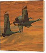 Cranes At Sunrise Wood Print