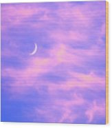 Crescent Moon Behind Cirrus Cloud In The Evening Wood Print