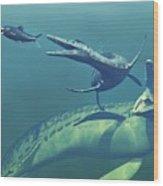 Cretaceous Marine Predators, Artwork Wood Print by Walter Myers