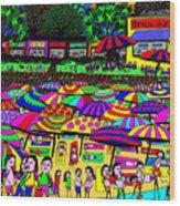 Crowded Beach Wood Print