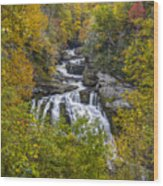 Cullasaja Falls In Autumn Wood Print