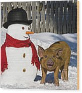 Curious Piglet And Snowman Wood Print