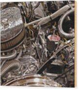 Custom Car Chromed Engine Wood Print