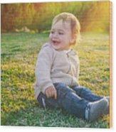 Cute Baby Boy Outdoors Wood Print