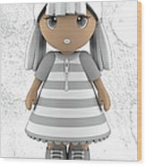 Cute Little 3d Girl Wood Print