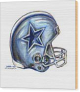 Dallas Cowboys Helmet Wood Print by James Sayer