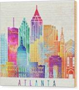 Atlanta Landmarks Watercolor Poster Wood Print