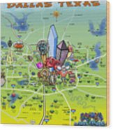 Dallas Texas Cartoon Map Wood Print