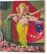 Dancing Ganapati With Universe And Abstract Back Ground Wood Print