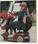Patriotic Lady On A Scooter Wood Print
