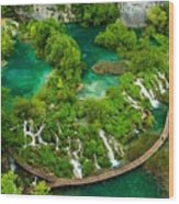 Dave Ruberto - Wonderful Green Nature Waterfall Landscape  Wood Print
