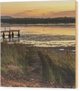 Dawn Waterscape And Wharf Wood Print