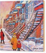 Debullion Street Winter Walk Wood Print